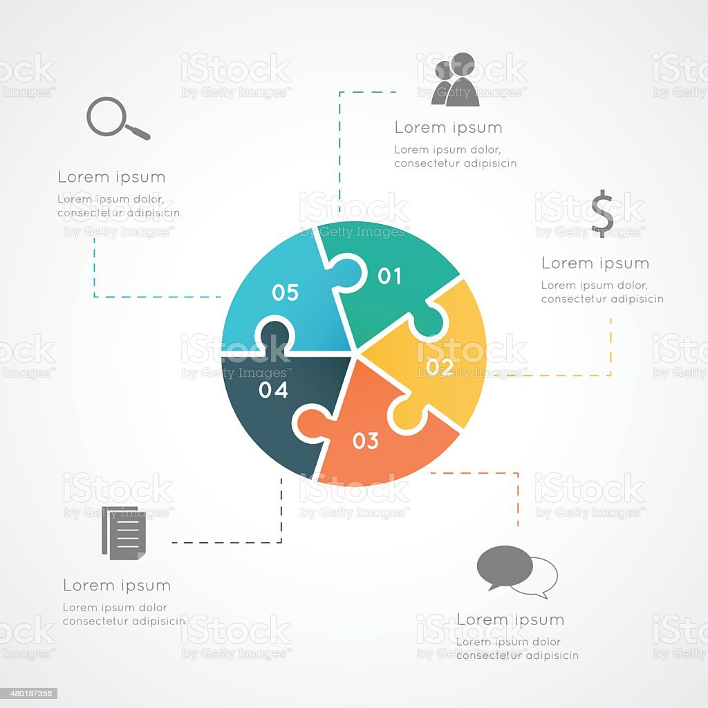 Infographic circle puzzle vector art illustration