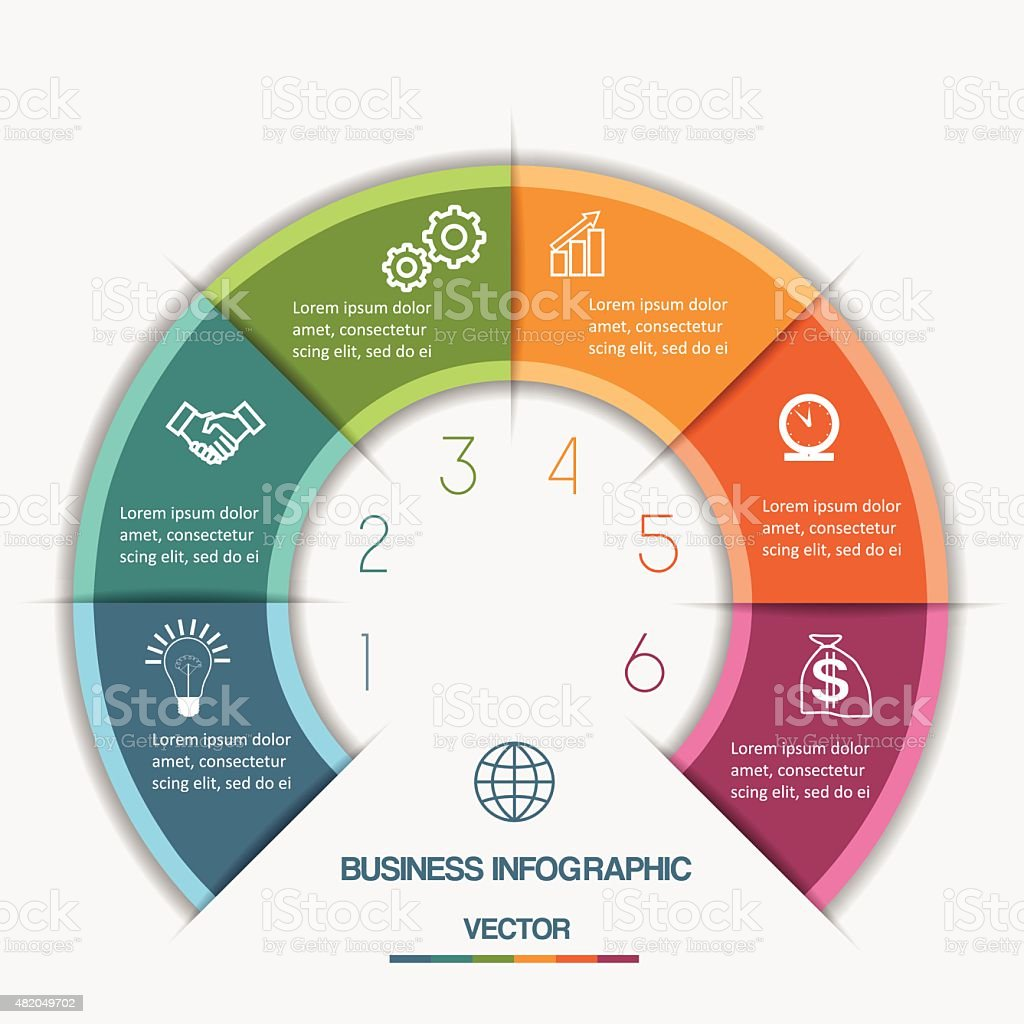 Infographic Color Semicircle on six positions vector art illustration