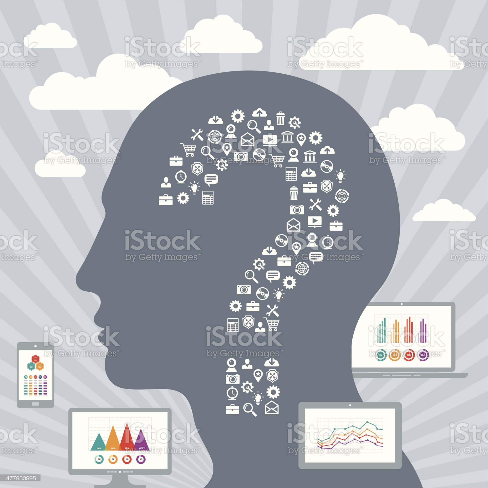 Infographic Concept with a Human Head & Displays royalty-free stock vector art