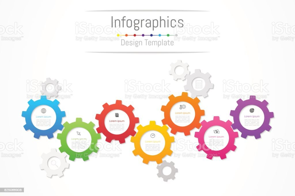 Infographic design elements for your business data with 7 options, parts, steps, timelines or processes. Gear wheel concept, Vector Illustration. vector art illustration
