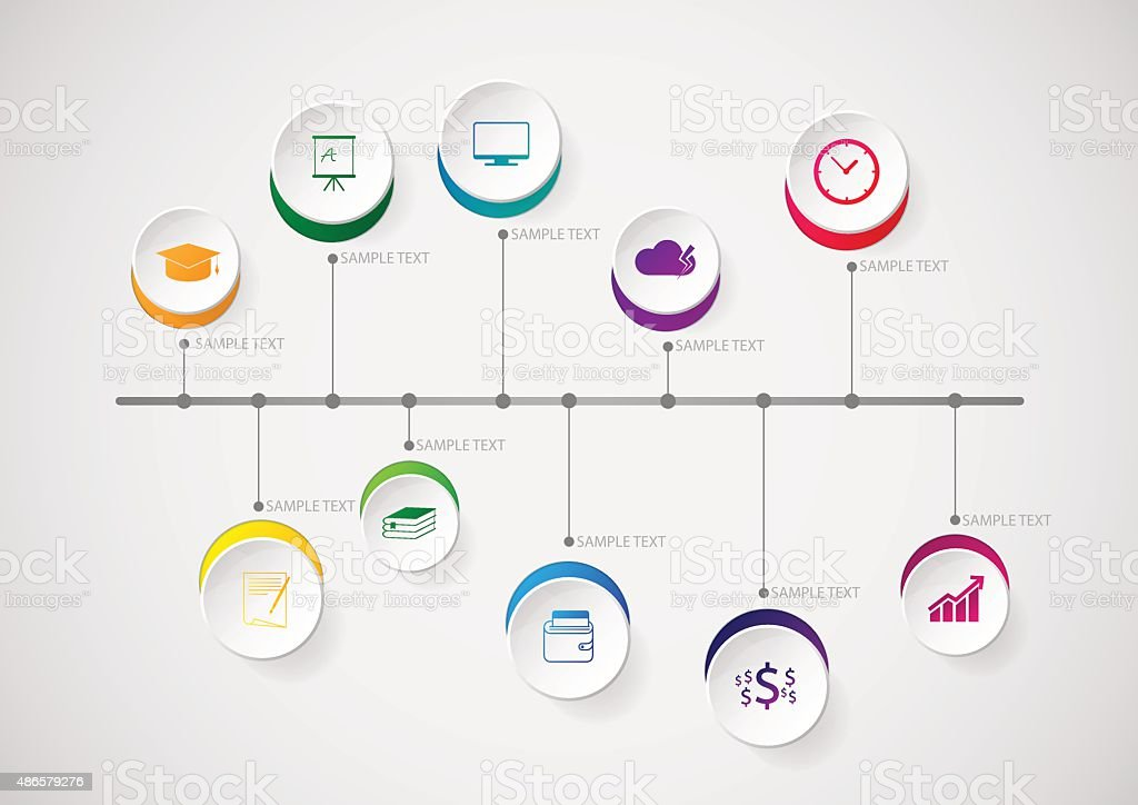 Infographic design template and marketing icons on the grey background. vector art illustration