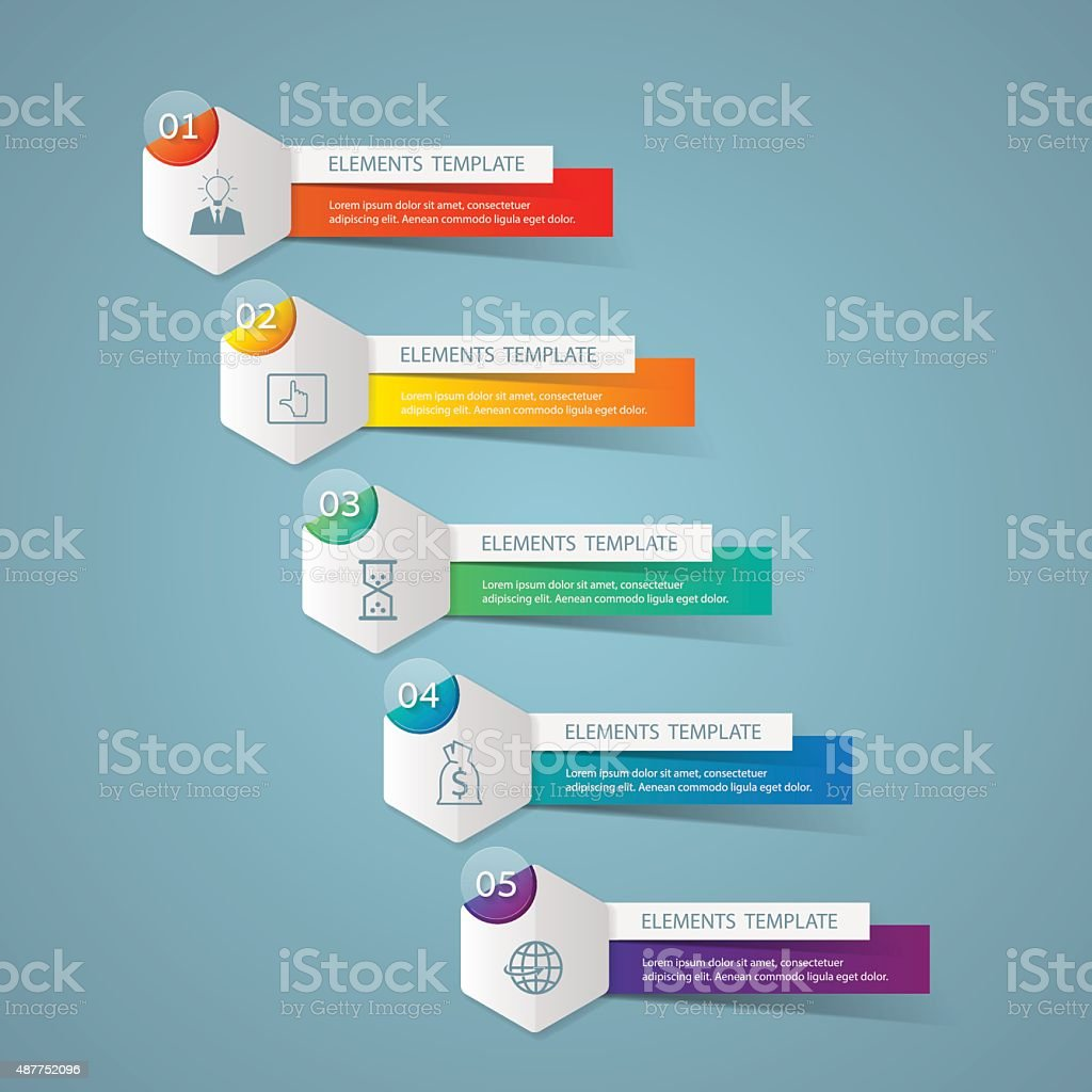 Infographic design template Business concept with 5 options vector art illustration