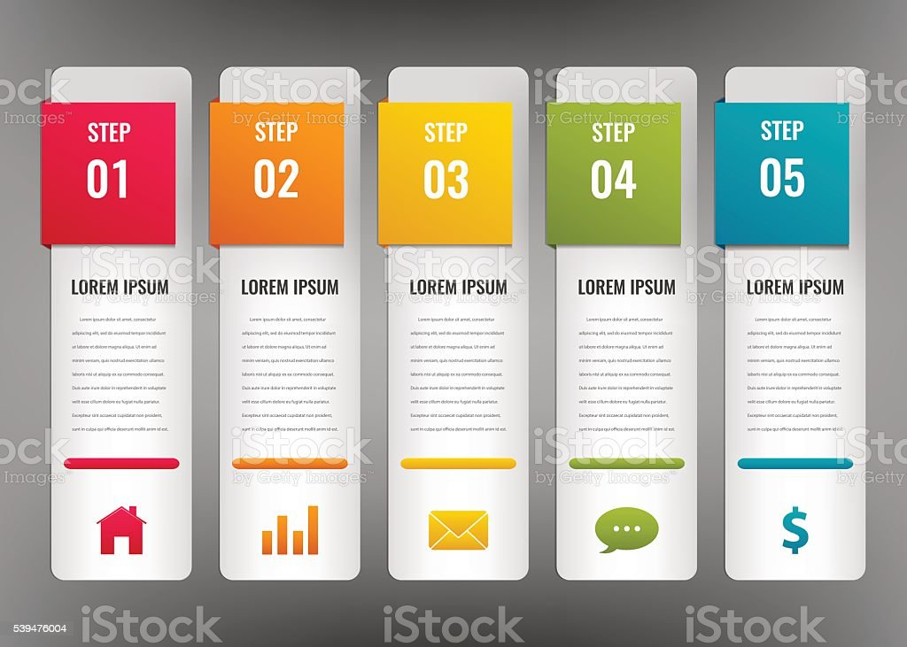 Infographic design template. Business concept with 5 options, royalty-free stock vector art