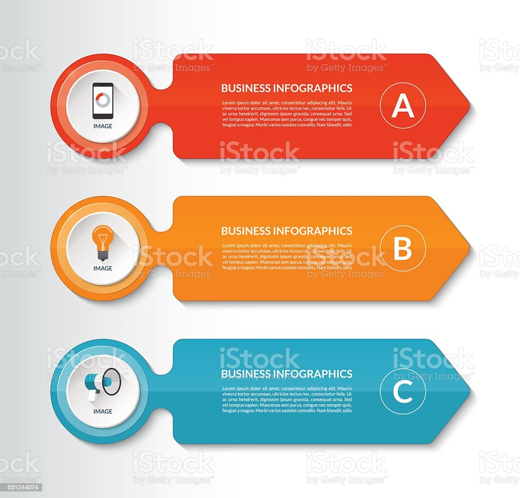 Infographic design template with 3 options vector art illustration