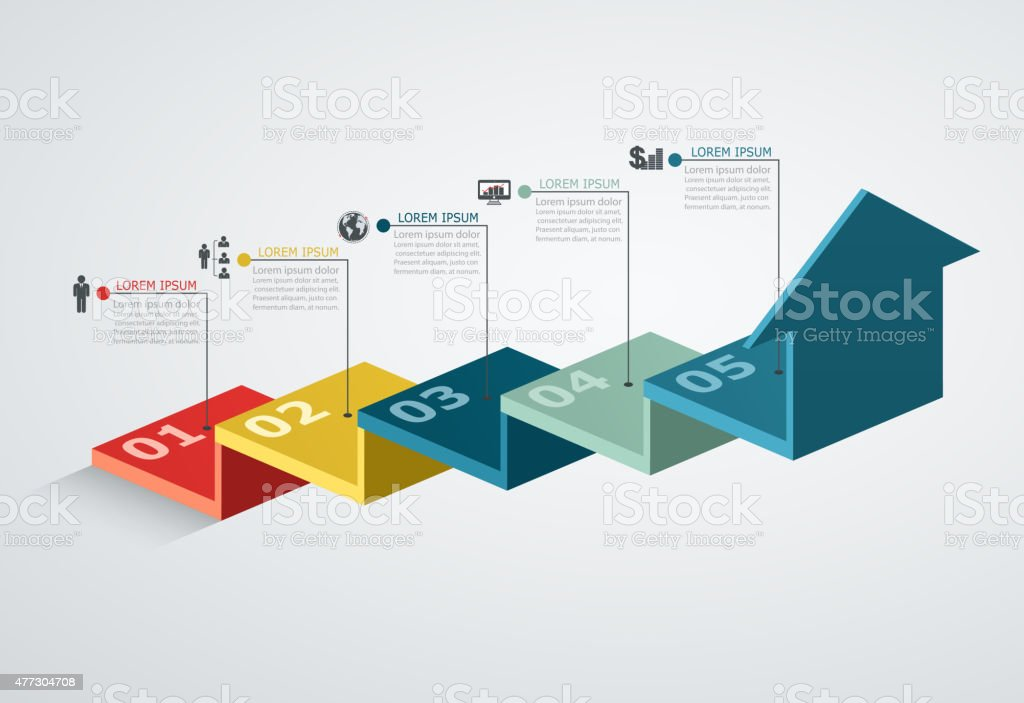 Infographic design template with step structure up arrow vector art illustration