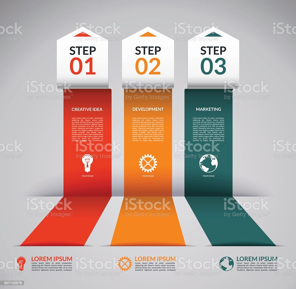 Infographic design template with the set of marketing icons vector art illustration