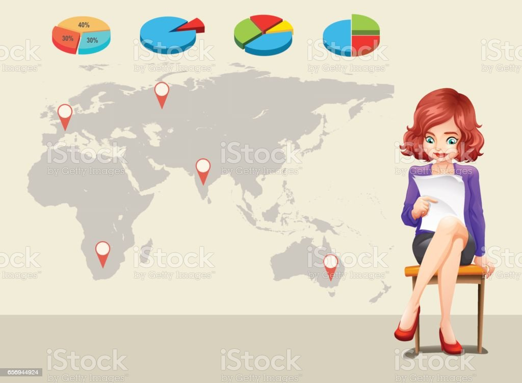 Infographic design with worldmap and businesswoman vector art illustration