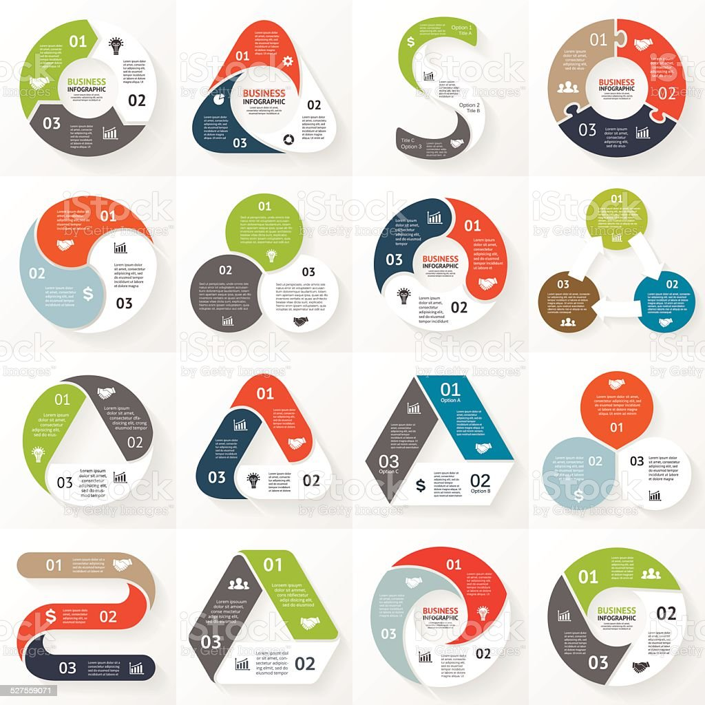 Infographic, diagram, 3 options, parts, steps. vector art illustration