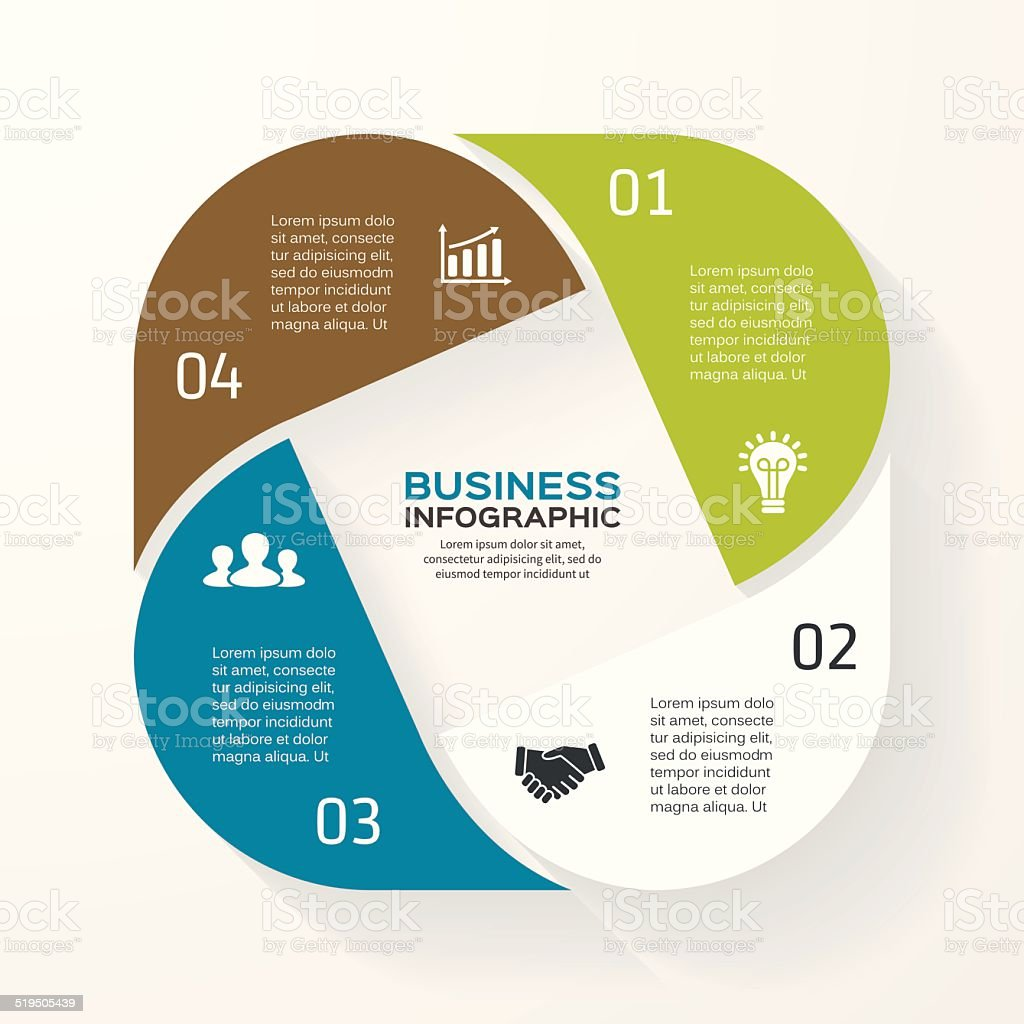 Infographic, diagram, presentation 4 options vector art illustration