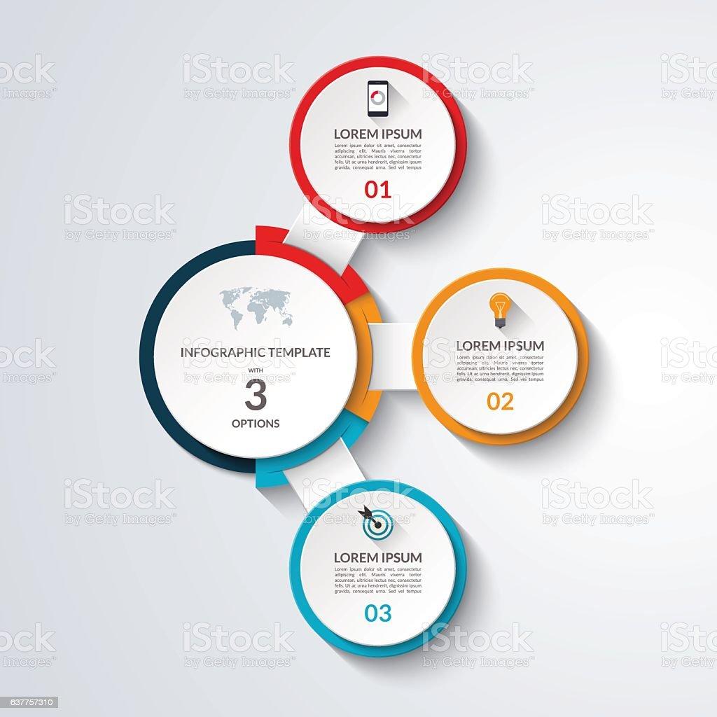 Infographic diagram template. 3 options business concept vector art illustration
