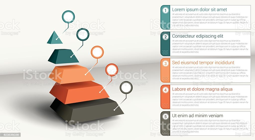 Infographic Element - Segmented Pyramid vector art illustration