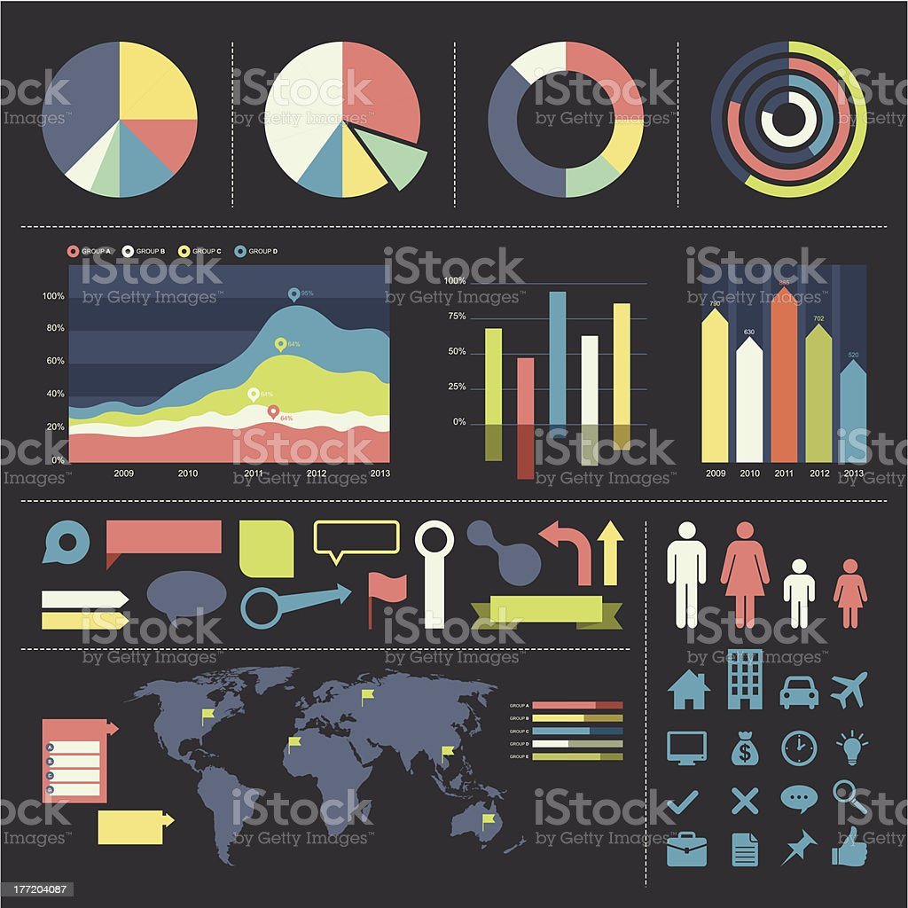 Infographic elements and icon set vector art illustration