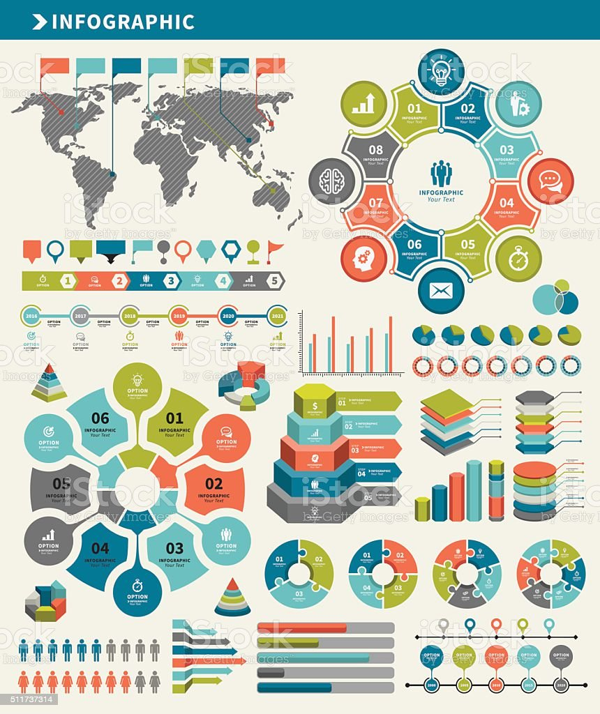 Infographic Elements and Timeline Set vector art illustration