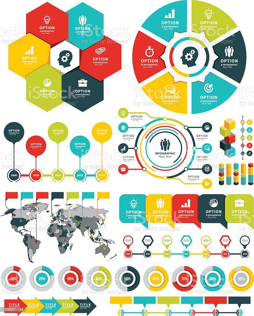 Infographic Elements and Timeline Set vector art illustration