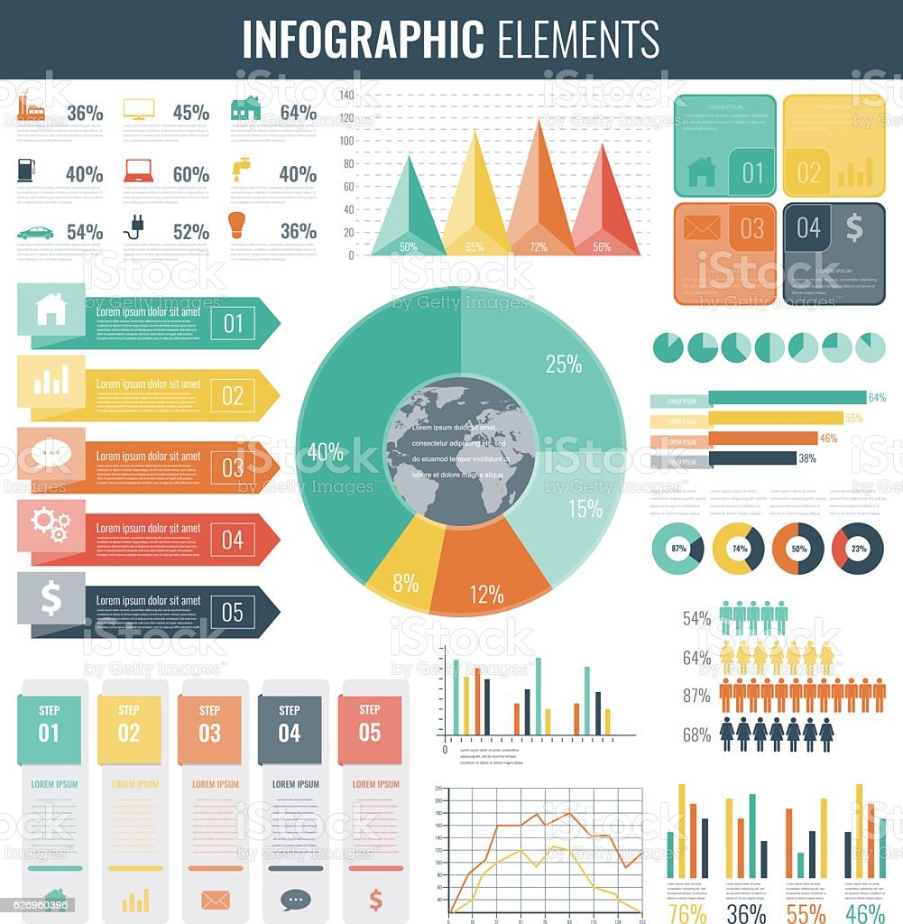 Infographic Elements Collection. Flat design. Vector royalty-free stock vector art