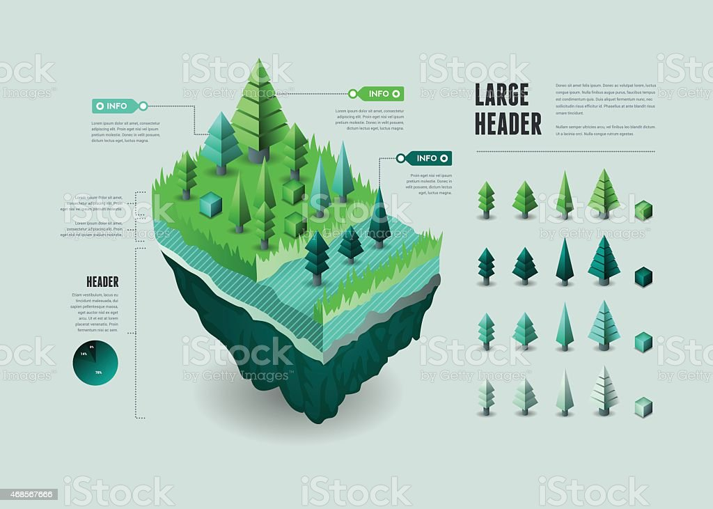 Infographic Elements - Floating Landmass vector art illustration
