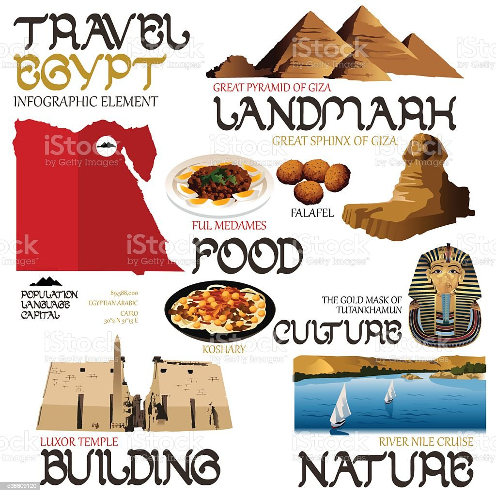 Infographic Elements for Traveling to Egypt vector art illustration