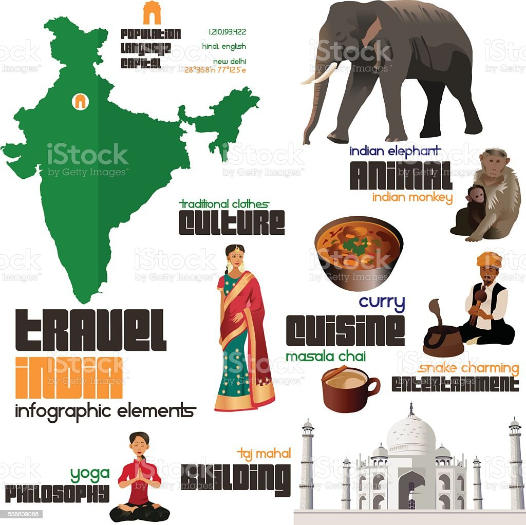 Infographic Elements for Traveling to India vector art illustration