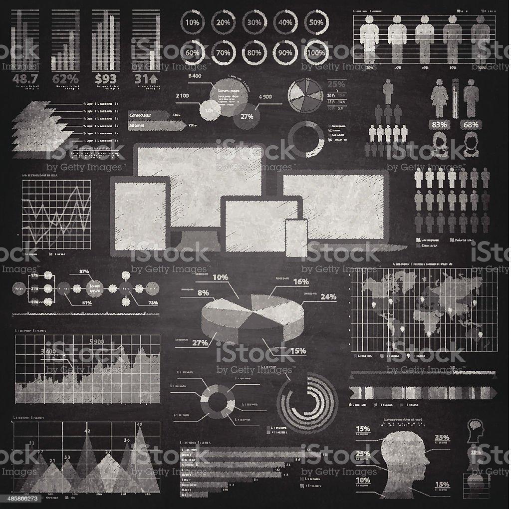 Infographic elements on Blackboard - Chalkboard vector art illustration