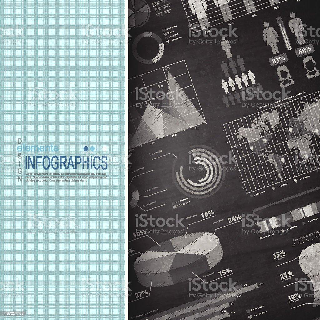 Infographic elements on Blackboard - Chalkboard royalty-free stock vector art