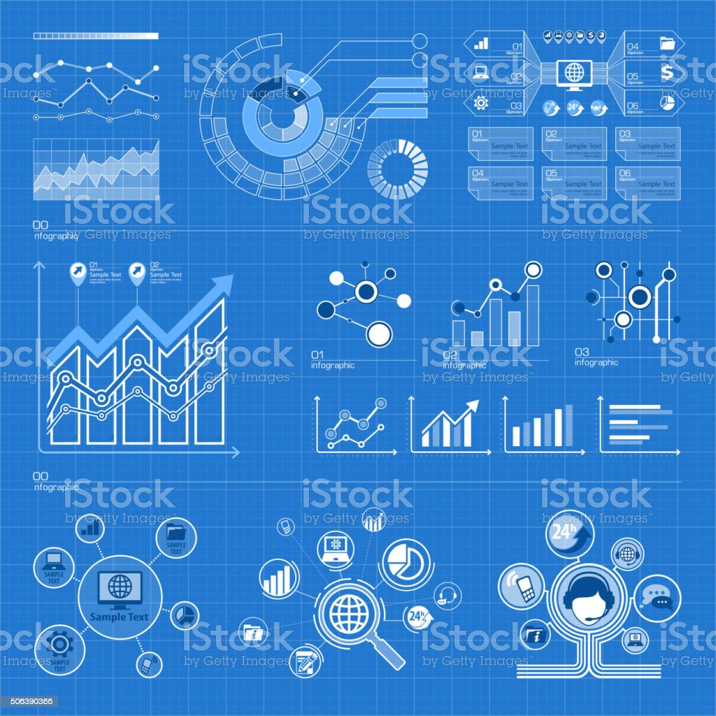 Infographic elements on blue vector art illustration