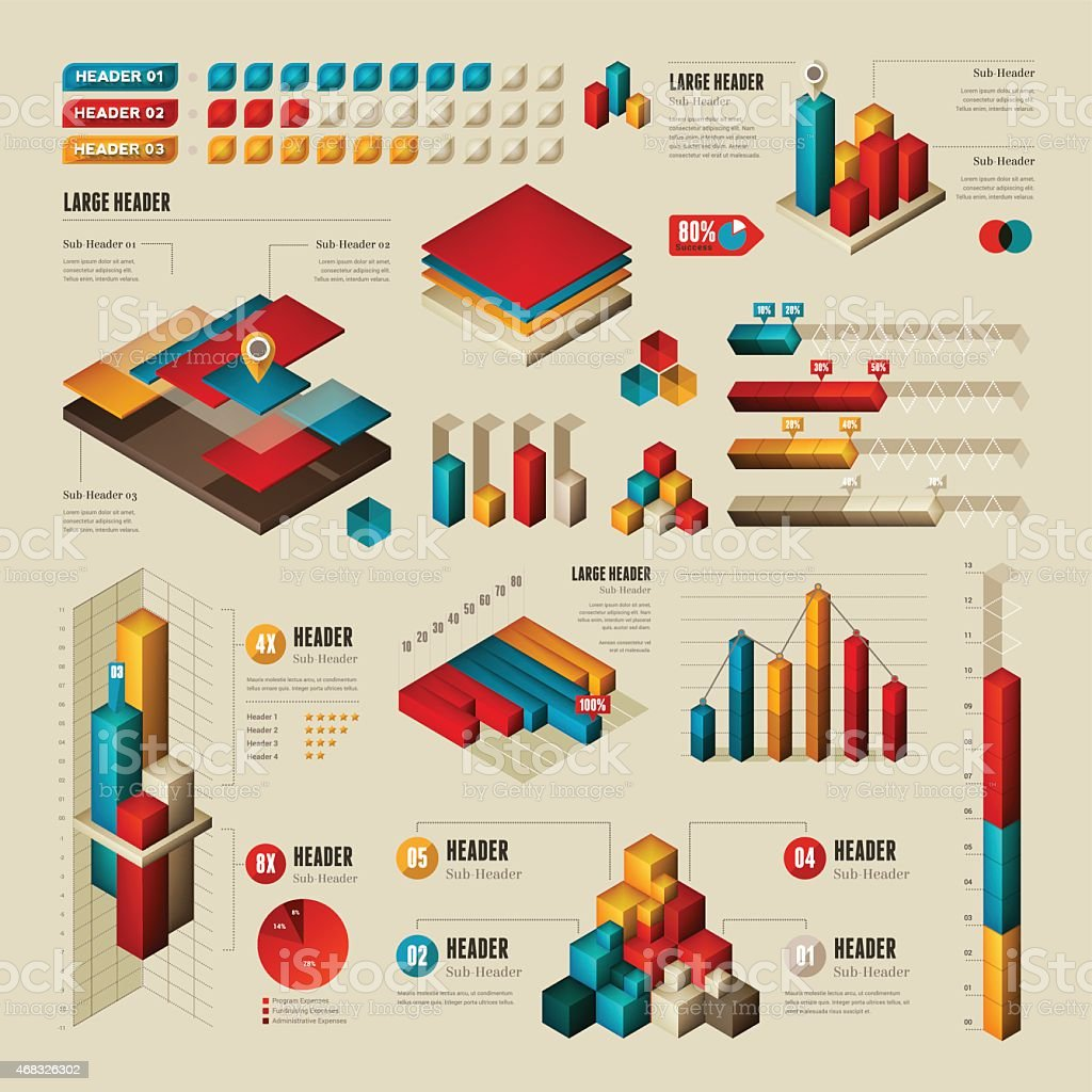 Infographic Elements - Rectangular and Cubes vector art illustration
