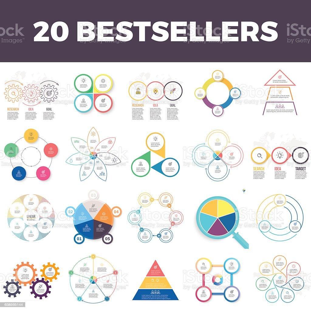 Infographic elements with 3, 4, 5, 6, 7 steps, parts. vector art illustration