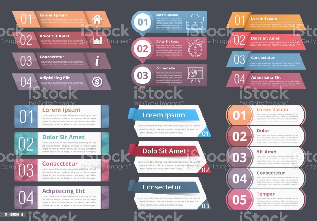 Infographic Elements with Numbers and Text vector art illustration