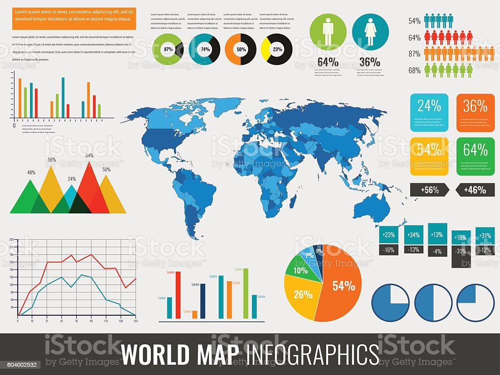 Infographic Elements with world map and charts. Vector royalty-free stock vector art