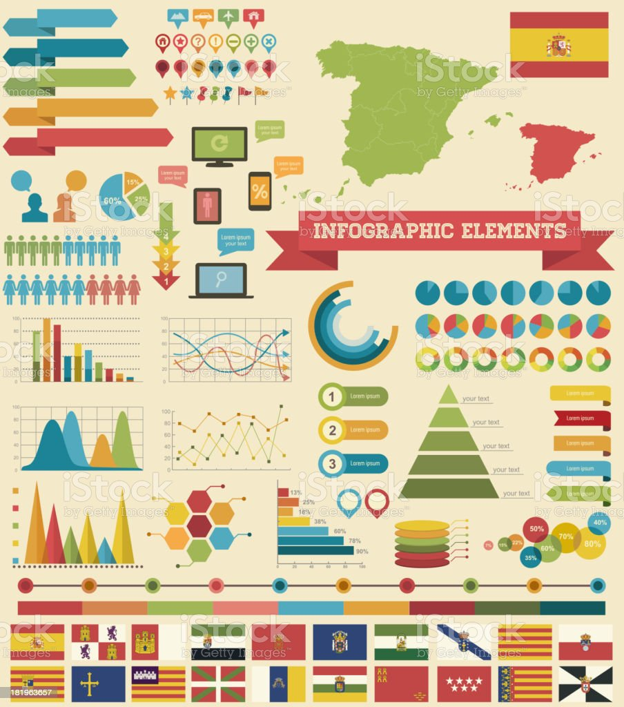Infographic Elements-Spain vector art illustration