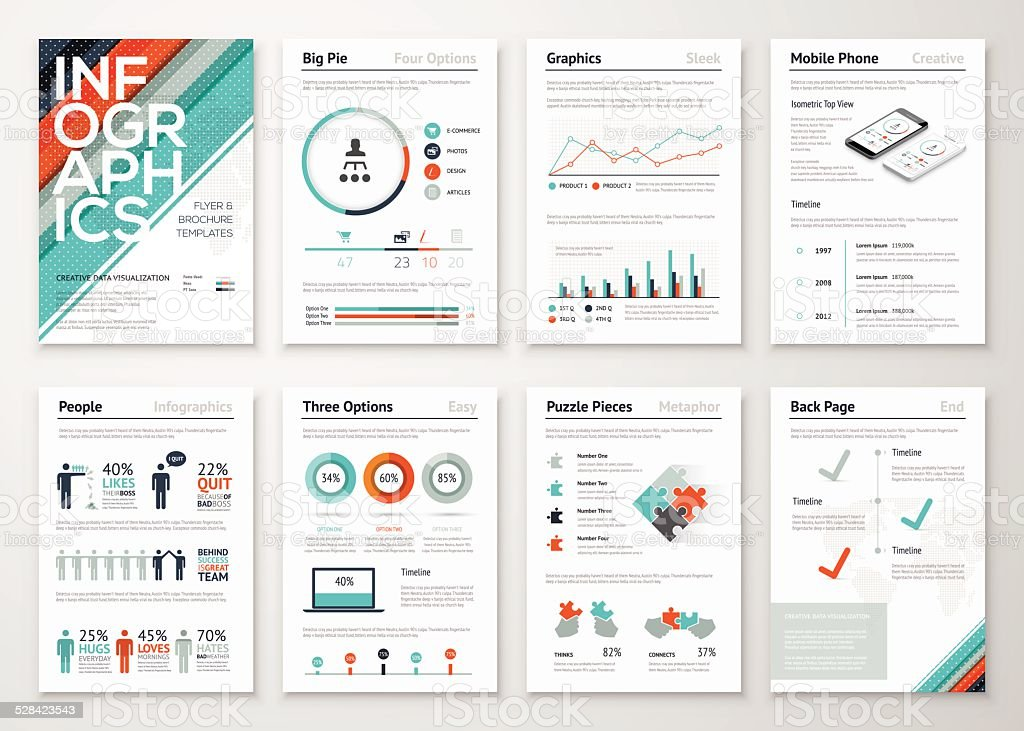 Infographic flyer and brochure elements for business data visualization vector art illustration