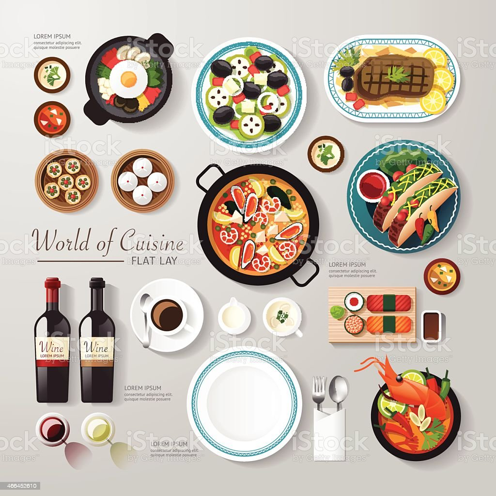 Infographic food business flat lay idea. Vector illustration vector art illustration