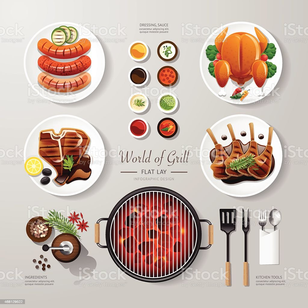Infographic food grill,bbq,roast,steak flat lay idea. Vector vector art illustration