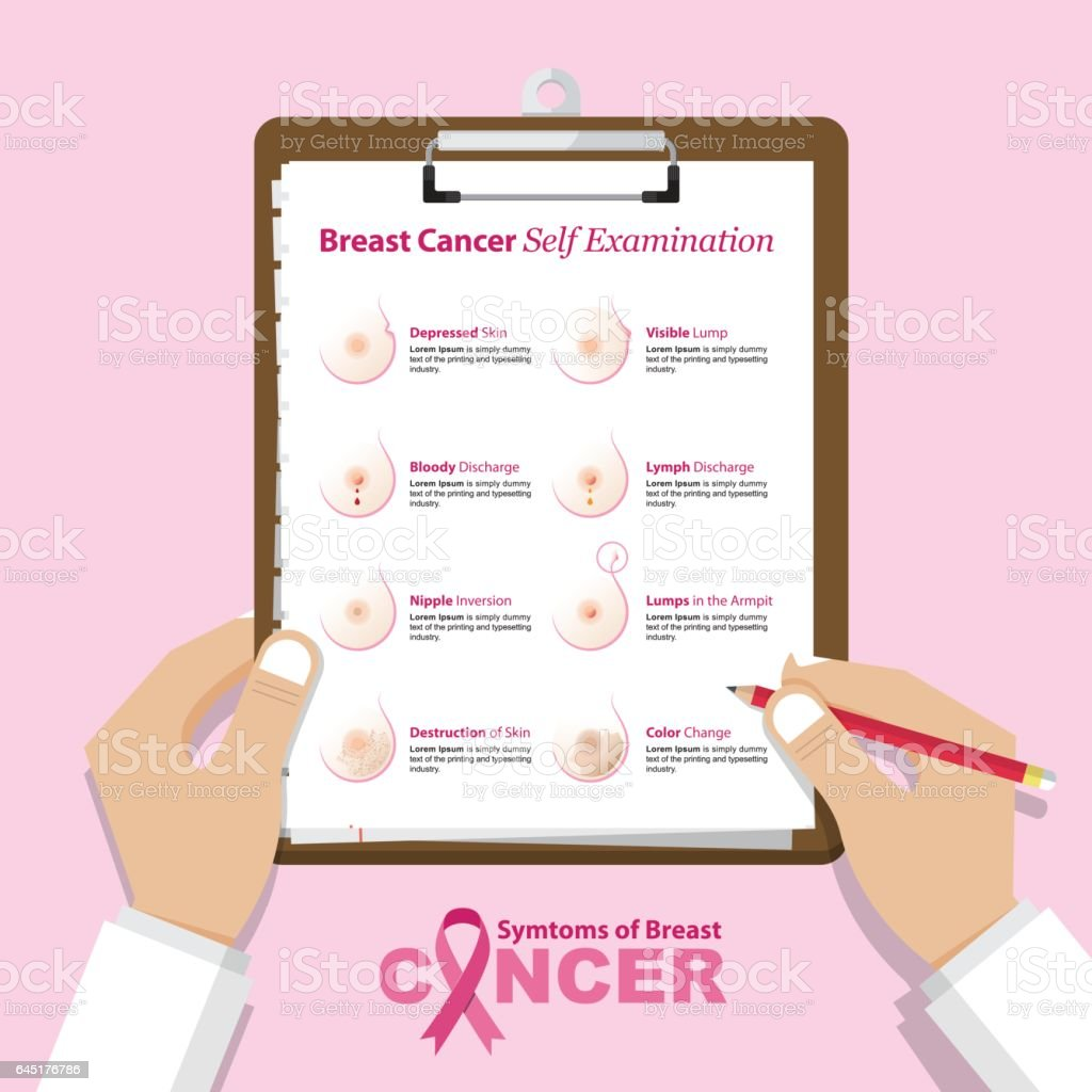 Infographic for breast cancer awareness in flat design. Medical and health care report. vector art illustration