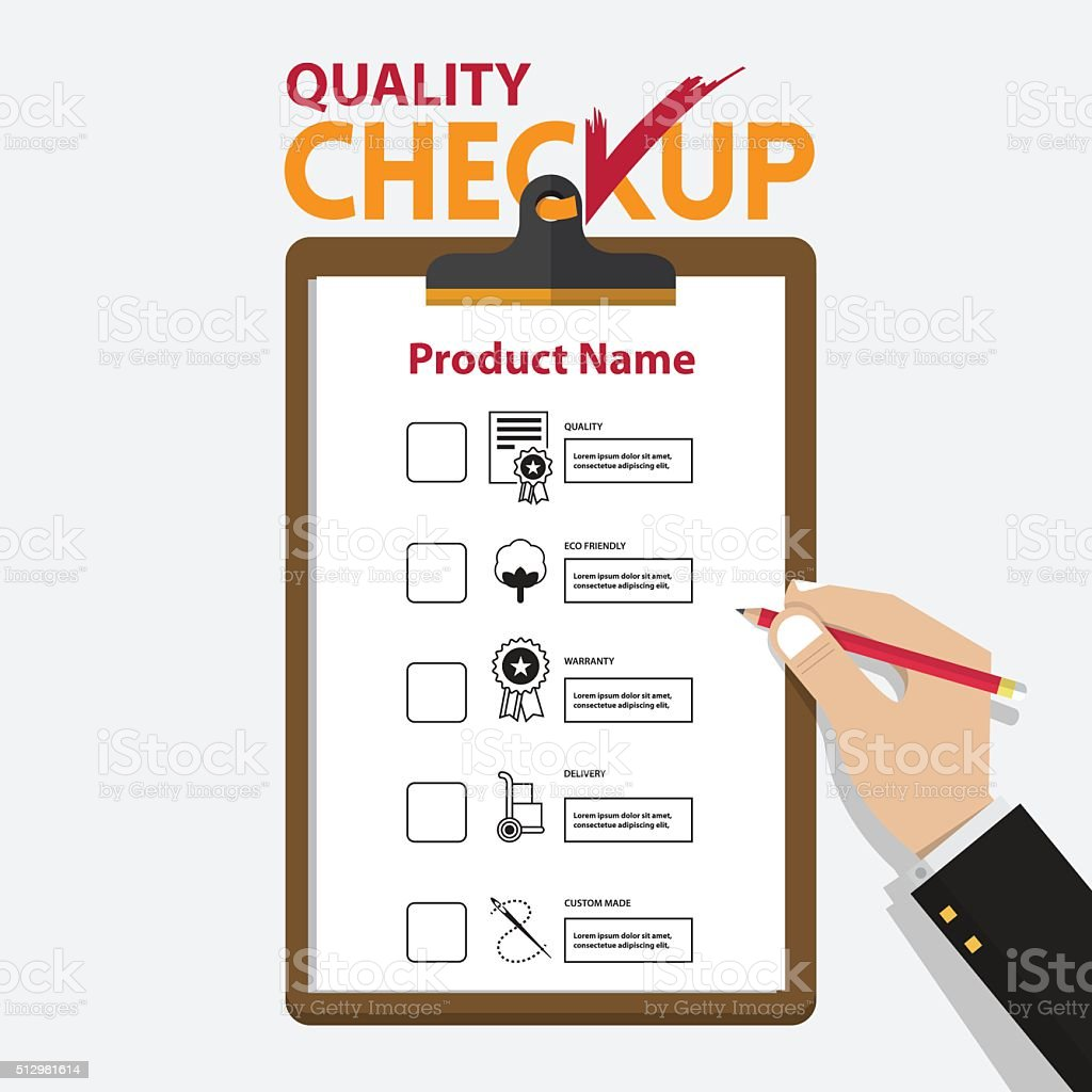 Infographic for product quality on checkup board in flat design. vector art illustration