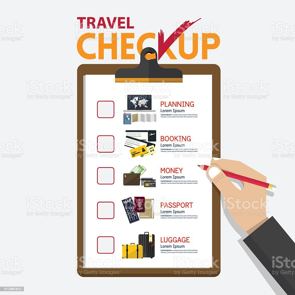 Infographic for travel planning on checkup board in flat design vector art illustration
