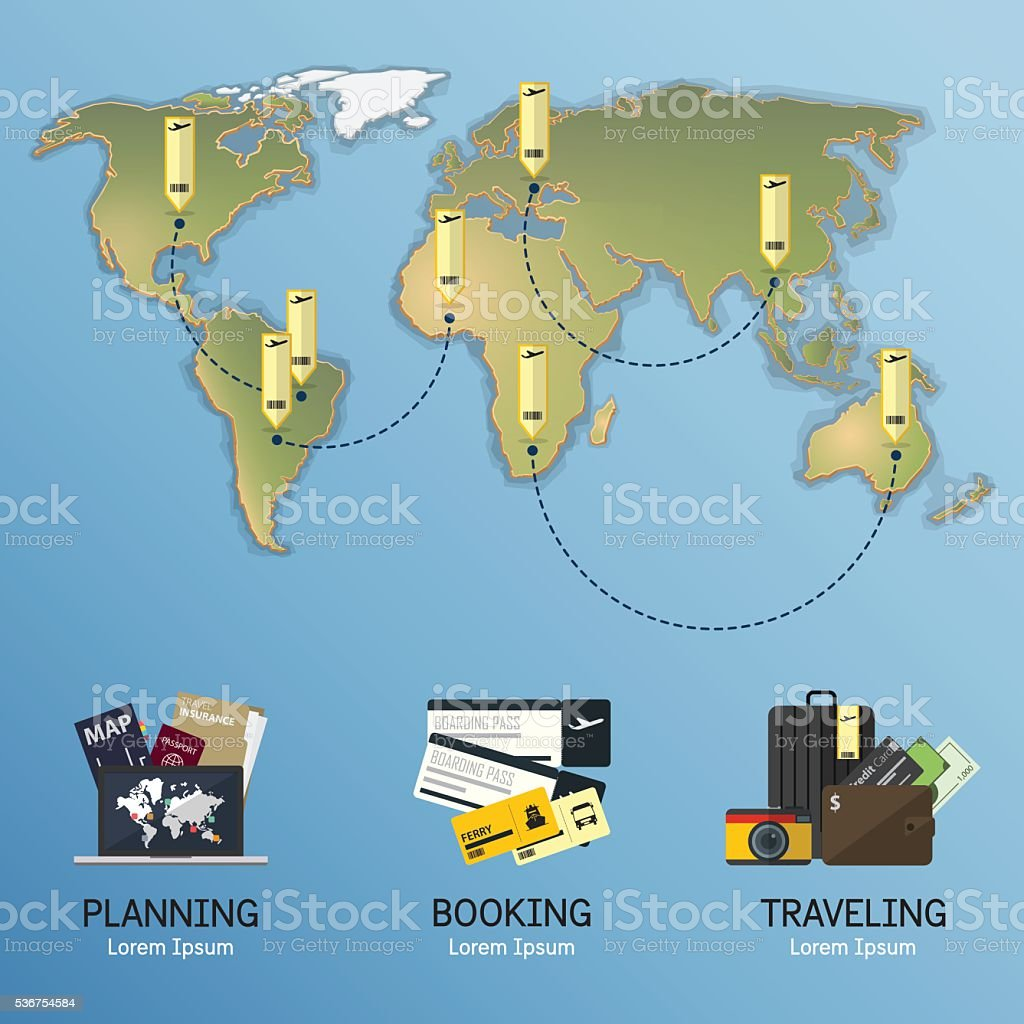 Infographic For Travel Planning World Map In Flat Design stock – Travel Planning Map