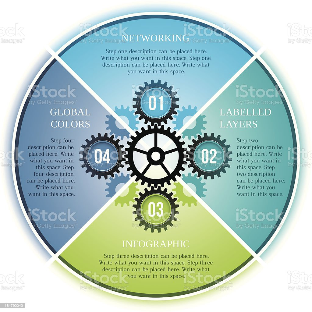 Infographic four step cogs design vector art illustration