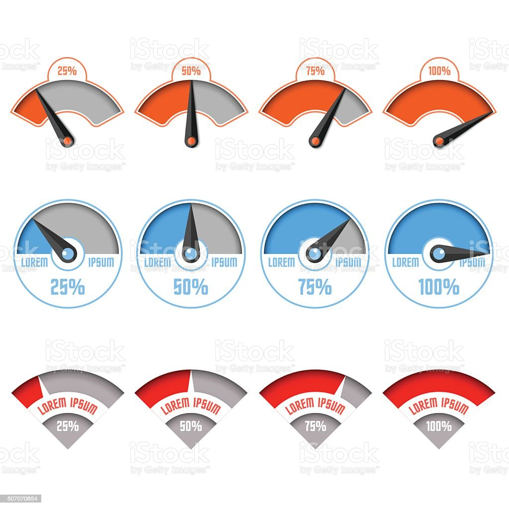 Infographic gauge chart elements vector art illustration