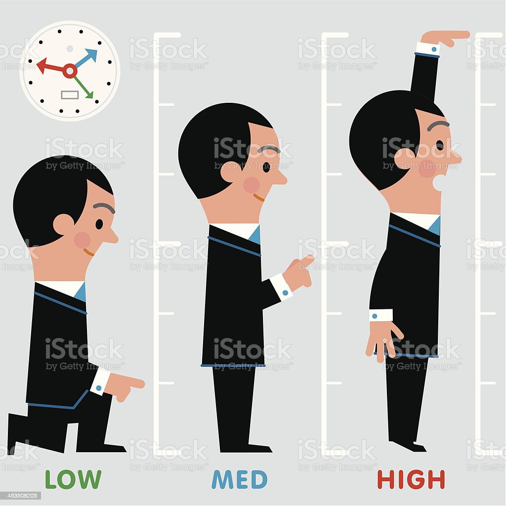 InfoGraphic Low-Med-High Man royalty-free stock vector art