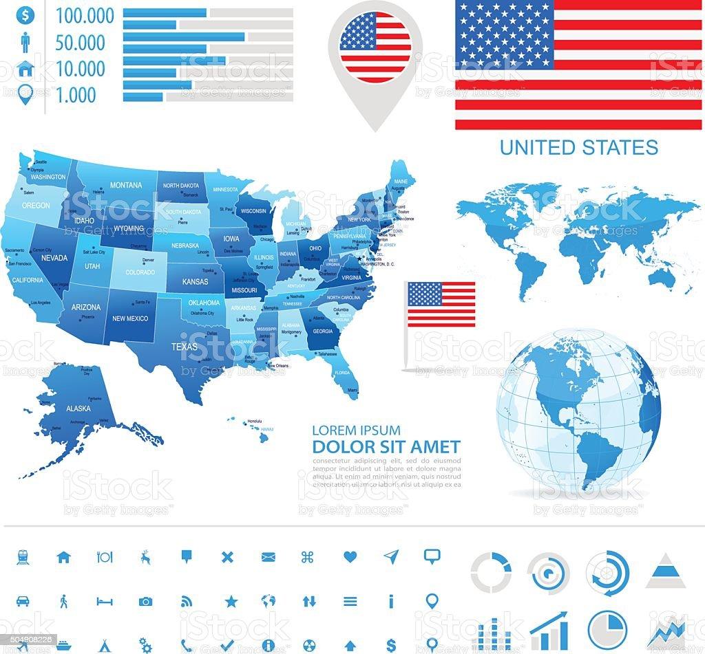 USA - infographic map - Illustration vector art illustration