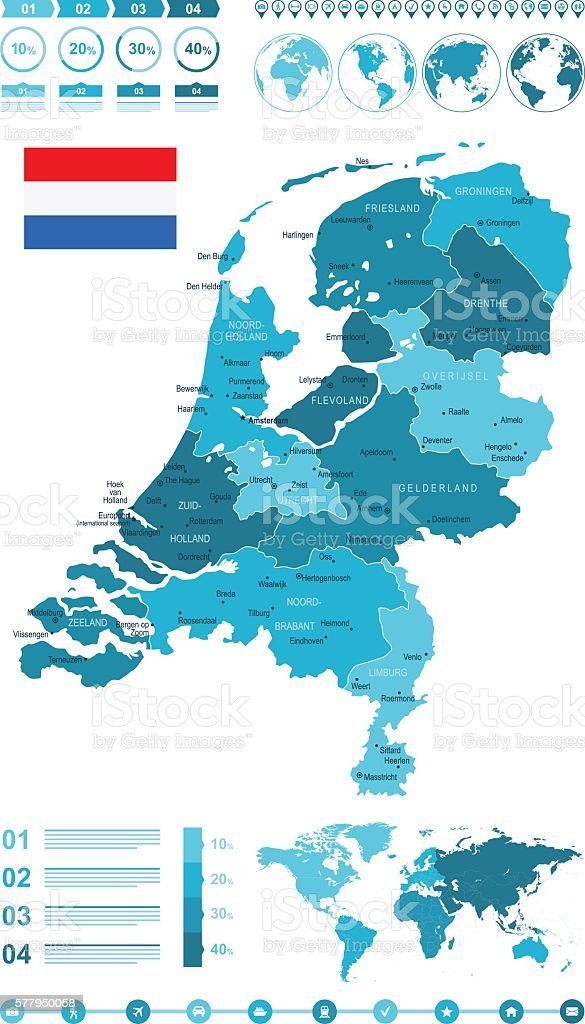Infographic Map of Netherlands vector art illustration