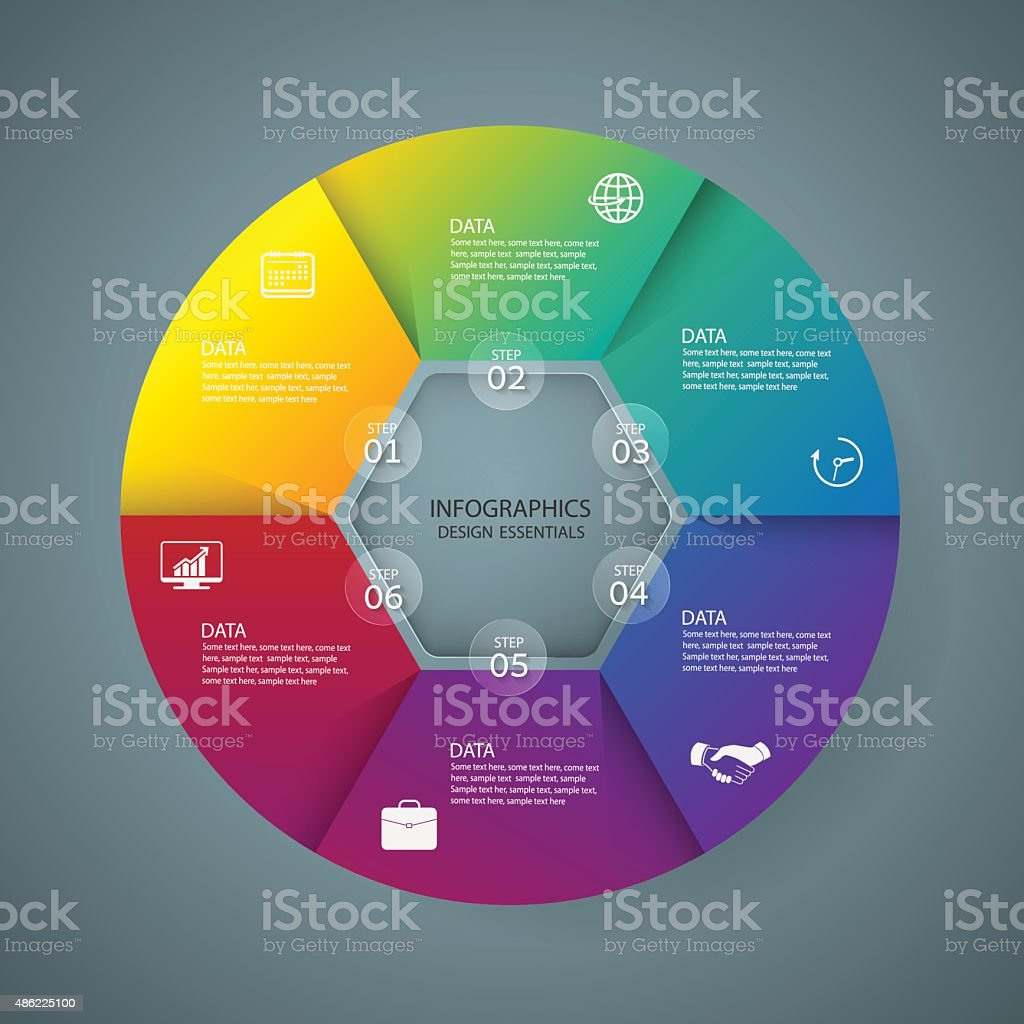 Infographic marketing icons, Business concept with 5 options vector art illustration