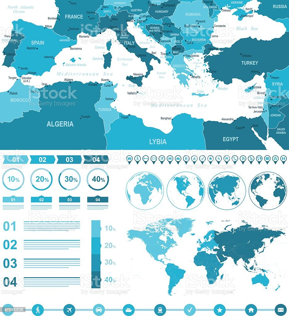 Infographic Mediterranean Countries Map vector art illustration