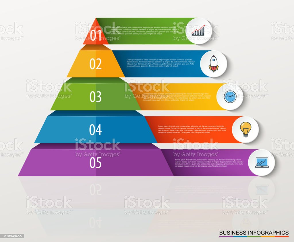 Infographic multilevel pyramid with numbers and business icons. vector art illustration