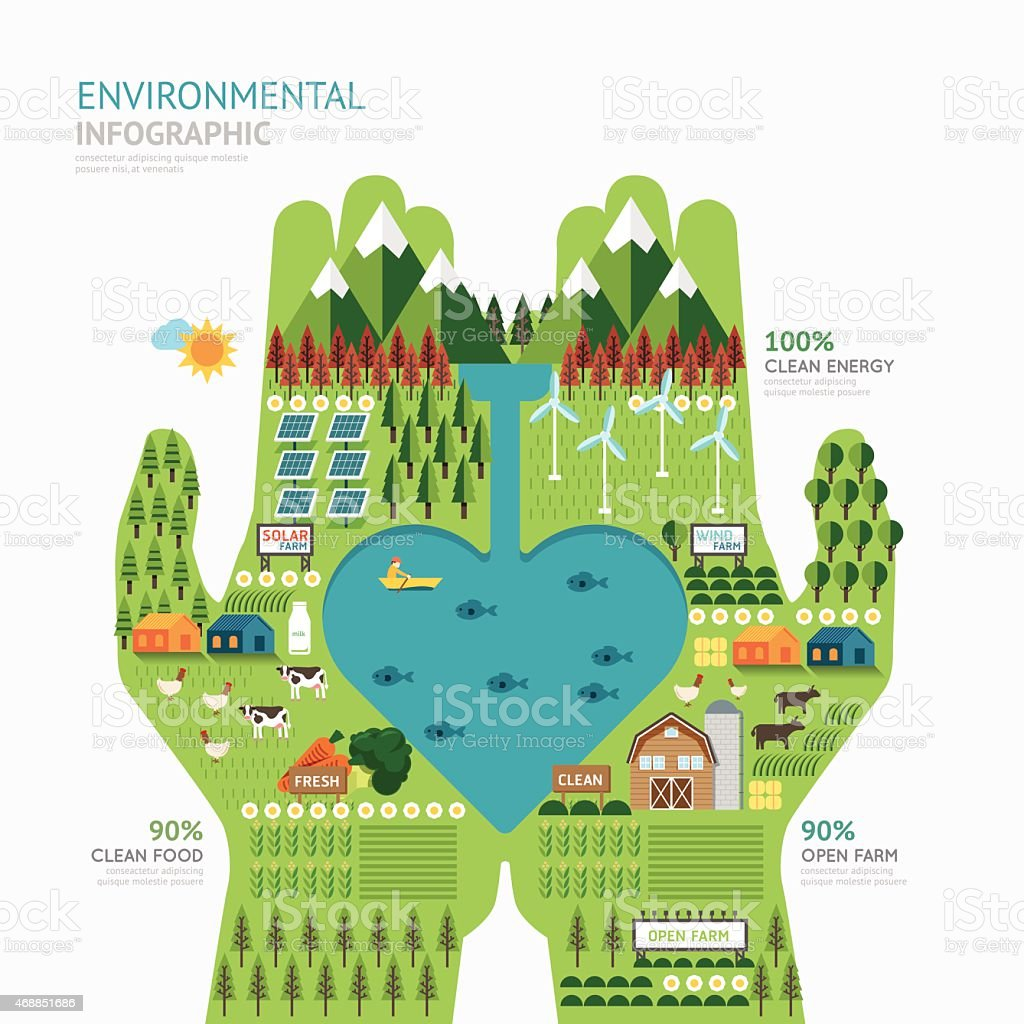 Infographic nature care hand shape design save concept vector art illustration