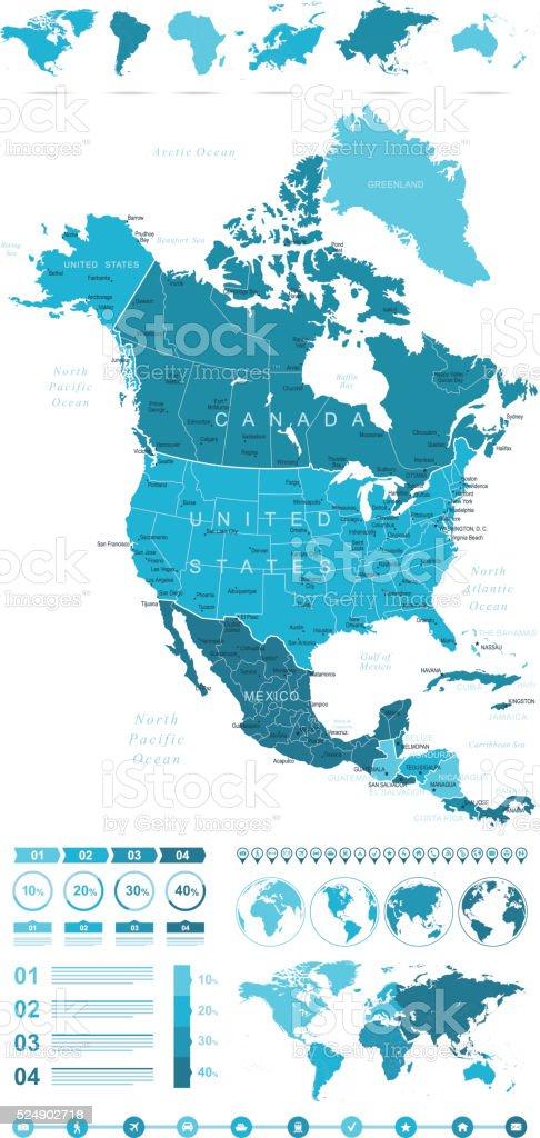 Infographic North America Map vector art illustration