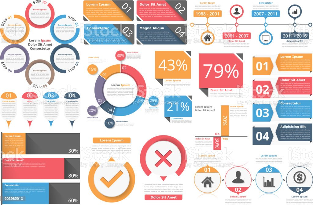 Infographic Objects vector art illustration