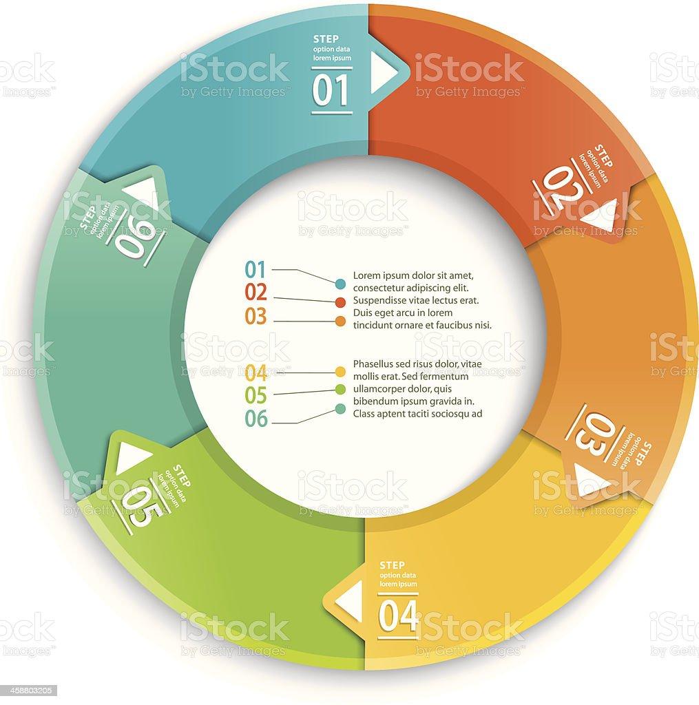 Infographic of 6 equal steps vector art illustration