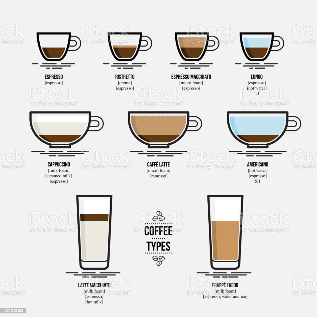 Infographic of coffee types vector art illustration